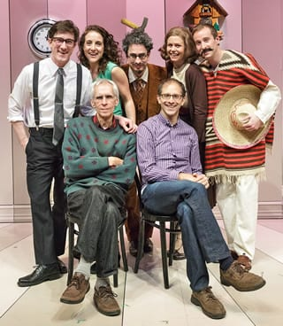 The cast: Carson Elrod, Jenn Harris, Matthew Saldivar, Liv Rooth, and Eric Clem. Seated: (left) playwright David Ives and director John Rando. (Photo © 2013 James Leynse)