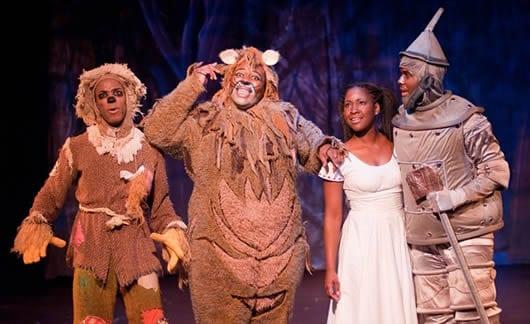 Bryan Jeffrey Daniels as Scarecrow, Tobias Young as Lion, Ashley Johnson as Dorothy, and Marquise White as Tinman (Photo: Kirstine Christiansen)