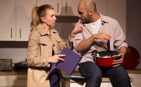 Emily Kester as Marianne and Maboud Ebrahimzadeh as Nick in  Edgar & Annabel (Photo: Igor Dmitry)