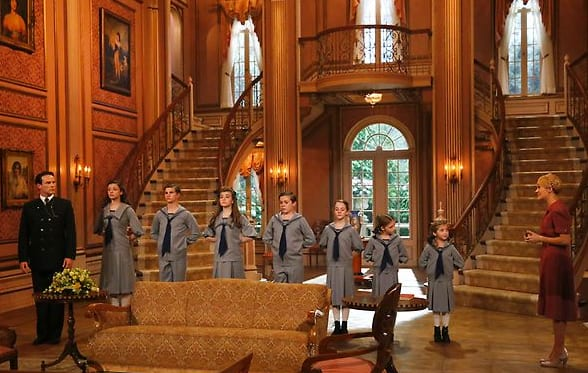 First, The Set - Production design: Derek McLane The actors: (l-r) Stephen Moyer as Captain Von Trapp, Ariane Rinehart as Liesl, Michael Nigro as Friedrich, Ella Watts-Gorman as Louisa, Joe West as Kurt, Sophia Ann Caruso as Brigitta, Grace Rundhaug as Marta, Peyton Ella as Gretl, Carrie Underwood as Maria -- (Photo by: Will Hart/NBC)
