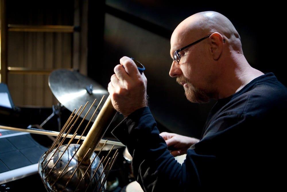 Percussionist Tom Teasley accompanying silent film Metropolis (Photo: Daniel Schwartz)