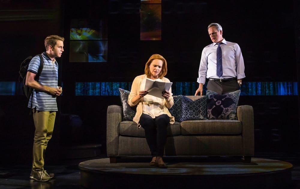 (l-r) Ben Platt, Jennifer Laura Thompson, and Michael Park in the Broadway production of Dear Evan Hanser (c)Matthew Murphy
