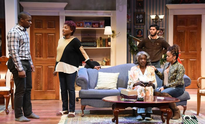 (l-r) Yaegel T. Welch, Dawn Ursula, Haron Hope, Ryan Carlo Dalusung and Paige Hernandez in Dot at Everyman Theatre (Photo: Stan Barouh)