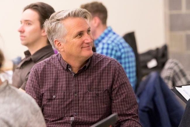 Director Eric Schaeffer in rehearsals for Titanic at Signature Theatre. (Photo: Christopher Mueller)