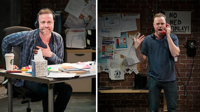 Tom Story as a pleading customer and the chef in Fully Committed at MetroStage (Photo: Chris Banks)