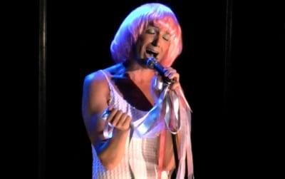 "Jeffrey Johnson singing ""Blackbird"" in Galactica: In Irrelevant Acts of Entertainment. Photo Credit:  Jeffrey Johnson."