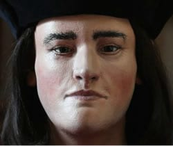 Facial reconstruction of King Richard III revealed by the Richard III Society, February 5, 2013.  Click to view interactive video on The Guardian