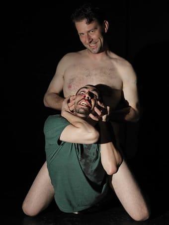 Sun King Davis as Killer Joe and Matthew Marcus as Chris Smith (Photo: courtesy of SeeNoSun OnStage)