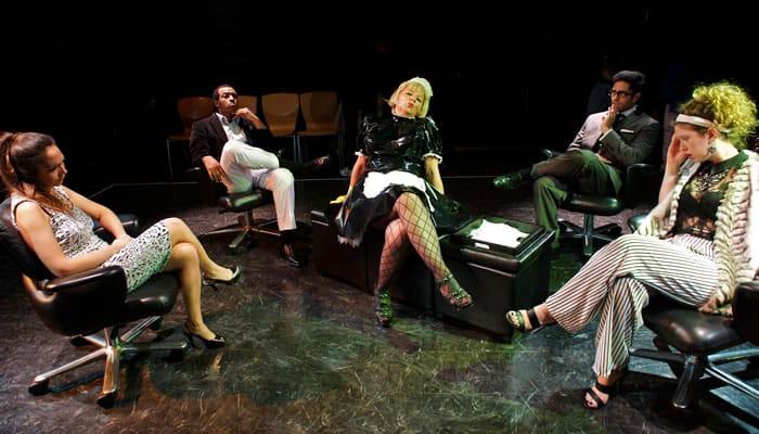 (l-r) Ariana Almajan (Amelia), Tekle Ghebremeschel (Barnaby), Hanna Bondarewska (Maid), Shravan Amin (Dagobert), and Moriah Whiteman (Chantal) Smartphones from Ambassador Theater (Photo: Valentin Radev)