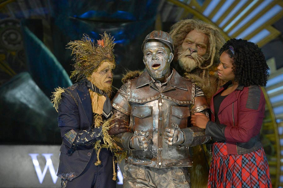 (l-r) Elijah Kelley as Scarecrow, Ne-Yo as Tin-Man, David Alan Grier as Lion, Shanice Williams as Dorothy in The Wiz Live! (Photo by: Virginia Sherwood/NBC)