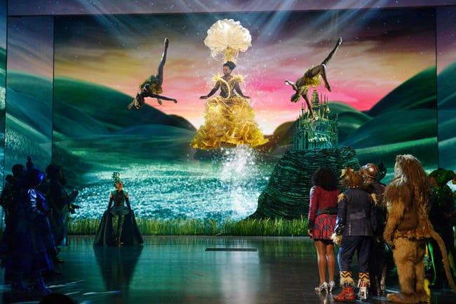 Uzo Aduba as Glinda, Shanice Williams as Dorothy, Elijah Kelley as Scarecrow, Ne-Yo as Tin-Man, David Alan Grier as Lion in The Wiz Live! (Photo by: Virginia Sherwood/NBC)