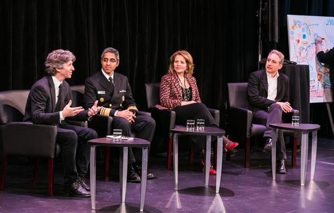 Damian Woetzel, U.S. Surgeon General Vivek H. Murthy, Renée Fleming, and Brian Greene at the 2016 Kennedy Center Arts Summit_April 25, 2016 (Photo: Yassine El Mansouri_