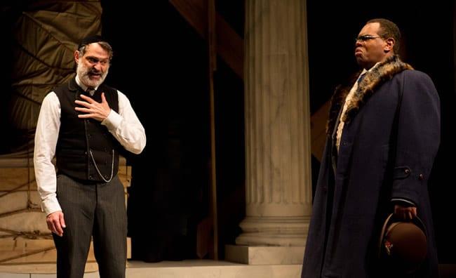 Matthew Boston as Shylock as Craig Wallace as Antoine DuPre in  District Merchants at Folger Theatre (Photo: Teresa Wood)
