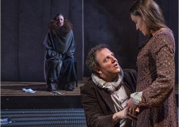 (l-r) Luz Nicolas (back). Oscar de la Fuente and Soraya Padrao in Cervantes: The Last Quixote at GALA Hispanic Theatre. (Photo: Stan Weinstein)