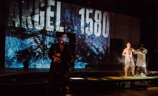 Samy Khalil, Oscar de la Fuente, and José González in Cervantes: The Last Quixote at GALA Hispanic Theatre. (Photo: Rose Campiglia)