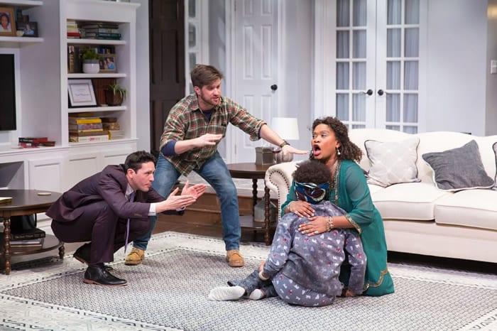 (l-r) Drew Kopas, AndyTruschinski, Shannon Dorsey, Twinkle Burke in  Familiar at Woolly Mammoth Theatre (Photo: Scott Suchman)